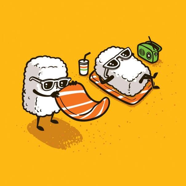 Прикольную картинку суши, утро