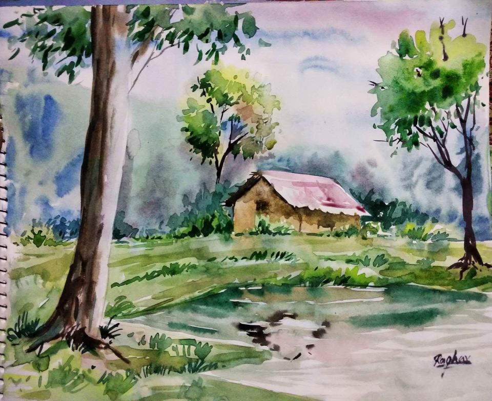 Trybe Watercolour Painting Of A Beautiful Landscape